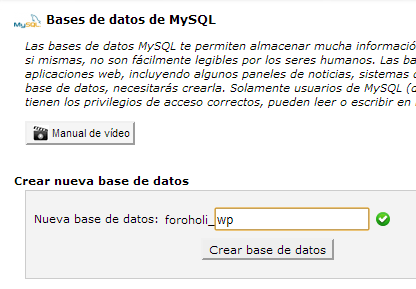 base de datos cpanel